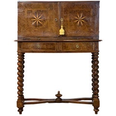 Early 18th Century Burl Walnut Cabinet on Stand