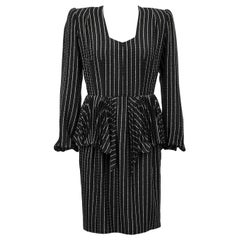 Early 1980 Andre Laug Silk Pinstriped Day Dress