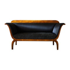 Early 19th Century Biedermeier Sofa of Cherry in Black Horsehair Fabric