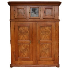 Early 19th Century Swiss Cupboard made of Cherry Wood with Marquetry