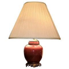 Early 20C American Dedham Style Sang de Boeuf Pottery & Gilt Bronze Table Lamp