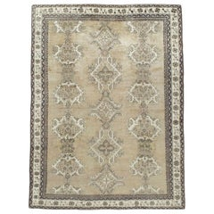 Early 20th Century Champagne Colored Turkish Handmade Oushak Carpet