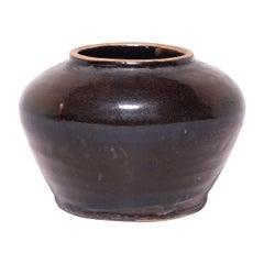Chinese Dark Glazed Kitchen Jar, c. 1900