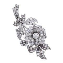 Early 20th Century Diamond Flower En Tremblant Brooch