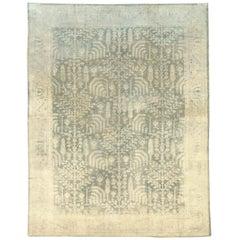 Early 20th Century Grey, Olive, and Beige Large Room Size Turkish Oushak Carpet