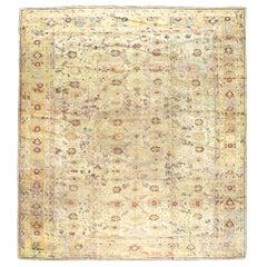 Early 20th Century Handmade Large Square Room Size Turkish Oushak Carpet
