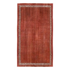 Early 20th Century Handmade Persian Rust Red Open Field Accent Rug