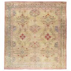 Early 20th Century Handmade Turkish Oushak Square Room Size Carpet