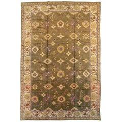 Early 20th Century Khaki Green Large Oversized Turkish Oushak Handmade Carpet