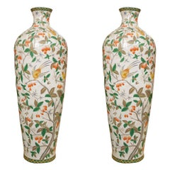 Early 20th Century Large Pair of Hand Painted Polychrome Vases