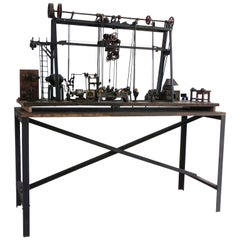 Early 20th Century Miniature Model of French Industrial Machinery Assembly Line
