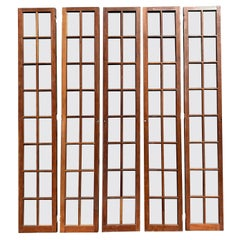 Early 20th Century Set of Five Cherrywood 16-Pane Glazed Doors