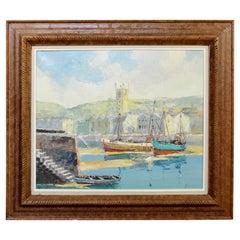 Early 20th Century Wood Framed Oil on Canvas Painting Bernard Laarhoven Harbor