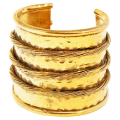 Early Chanel Depose Gilded Etruscan Cable Cuff, Signed