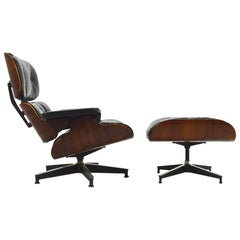 Early Eames Rosewood Lounge and Ottoman