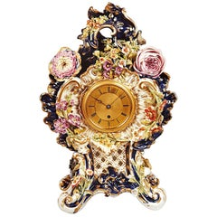 Victorian Antique Porcelain Clock by Adam Thomson, Bond Street, London