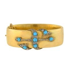 Early Victorian Turquoise Rose Cut Diamond Hinged Bangle Bracelet