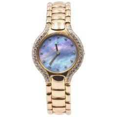 Ebel 18 Karat Yellow Gold Beluga Mother of Pearl Diamond Dial and Bezel Watch