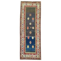 Eclectic 20th Century Talish Brown Navy Persian Wool Runner
