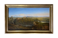 19TH CENTURY ENGLISH LANDSCAPE OF LUDLOW CASTLE  -  BY EDMUND JOHN NIEMANN