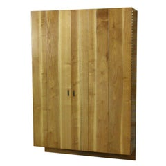 Edward Wormley for Dunbar Wall Mount Storage Bar Cabinet in Sap-Streaked Walnut