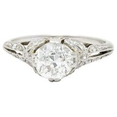 Edwardian 1.52 Carat Old European Cut Diamond Platinum Bow Engagement Ring