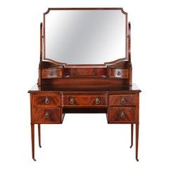 Edwardian English Mahogany Inlaid Vanity