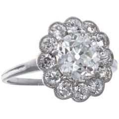 Edwardian GIA 1.73 Carat Diamond Platinum Engagement Ring