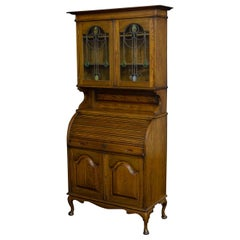 Edwardian Oak Roll Top Bookcase with Art Nouveau Stained Windows