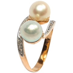 Edwardian Pearl and Diamond Ring
