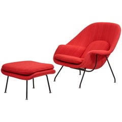 Eero Saarinen Womb Chair with Ottoman by Knoll in Knoll Dynamic Fabric