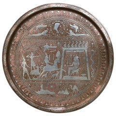 Egyptian Revival Copper and Silver Charger Inlaid with Hieroglyphics