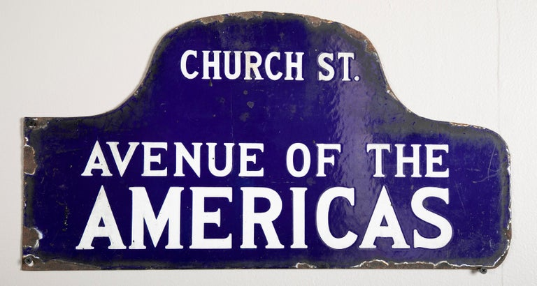Eight NYC, New York Porcelain over Metal Enamel Street Signs For Sale 3