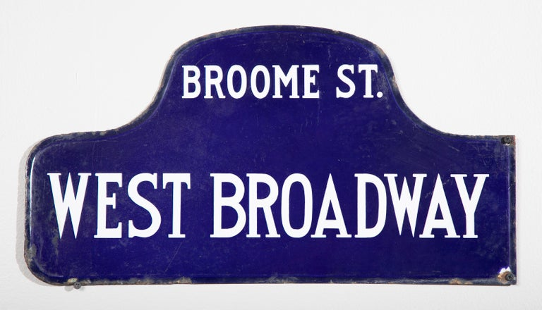 Eight NYC, New York porcelain over metal enamel street signs. Double sided. Priced individually.