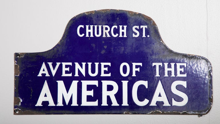 Eight NYC, New York Porcelain over Metal Enamel Street Signs In Good Condition For Sale In Stamford, CT