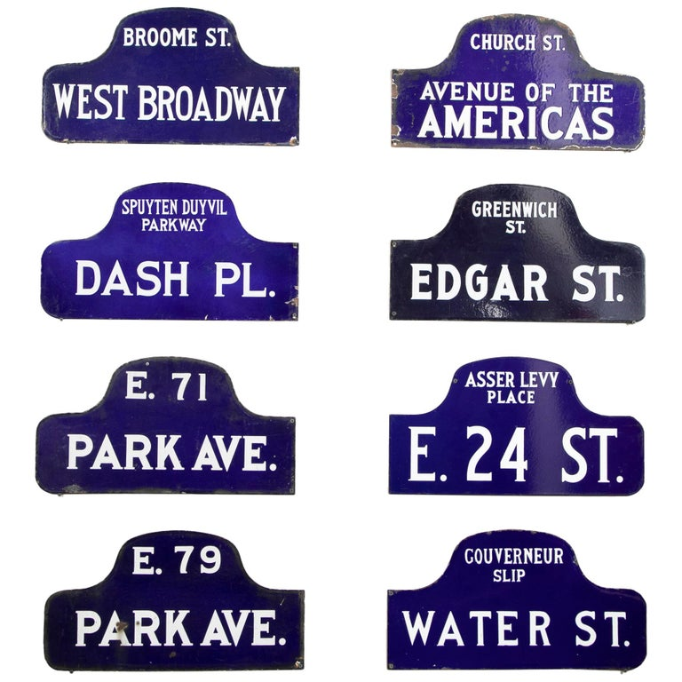 Eight NYC, New York Porcelain over Metal Enamel Street Signs For Sale