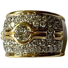 Elegant 18 Karat White and Yellow Gold Diamond Band Ring