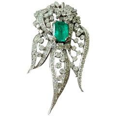 Elegant 1970 Vintage Platinum Diamond and Emerald Brooch