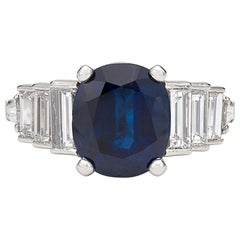 Elegant 4.21 Carat Unheated Sapphire and Diamond Platinum Ring