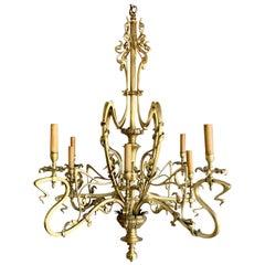 Elegant & Exquisite Bronze & Brass, Electrical 8 Light Art Nouveau Chandelier