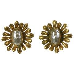 Elegant Miriam Haskell Gilt Flower Earrings