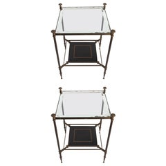 Elegant Pair of Small Square Side Tables Attributed to Maison Jansen 1940s-1950s