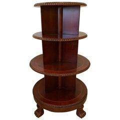 Elegant Round Revolving 4-Tier Mahogany Bookshelf