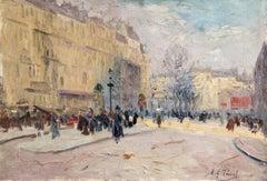 Les Grands Boulevards-Paris - Impressionist Oil, Figures in Cityscape by E Pavil
