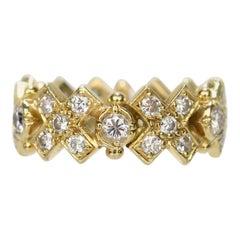 Elizabeth Gage 18 Karat Gold and Diamond Hugs and Kisses Band Ring