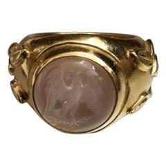 Elizabeth Gage Moonstone on Yellow Gold 18 Karat Ring