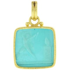 "Elizabeth Locke ""Goddess at the Alter"" Venetian Glass Pendant"