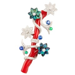 Ella Gafter Coral and Diamond Floral Brooch Pin