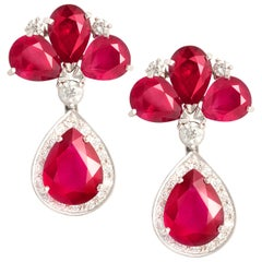 Ella Gafter Ruby Diamond Drop Earrings
