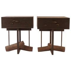 Elm Branch Bedside Tables by Chris Lehrecke with Bronze Mushroom Pulls